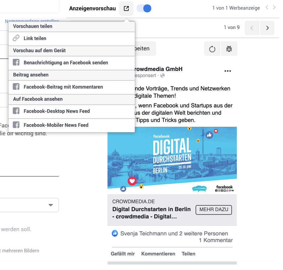 Business Manager Auswahl Vorschau mit Kommentaren in Facebook