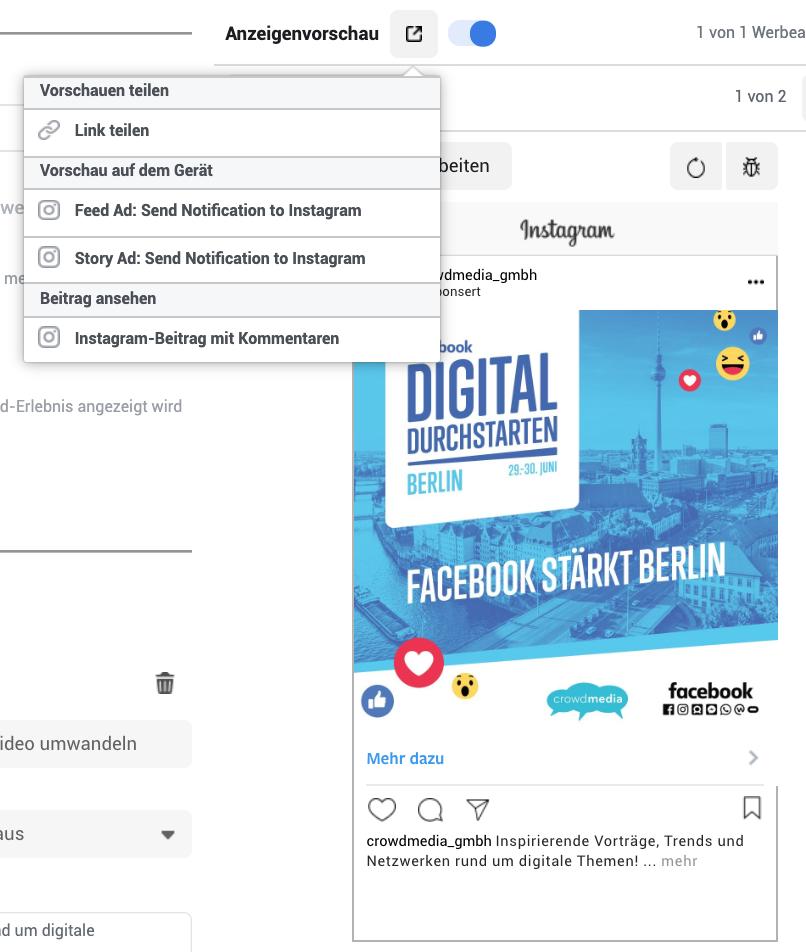 Business Manager – Vorschau Anzeige mit Kommentaren in Instagram
