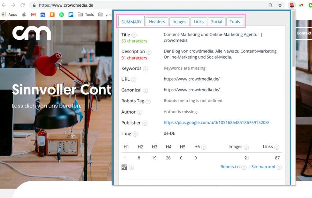 Bessere Google Rankings – SEO Meta in 1 Click