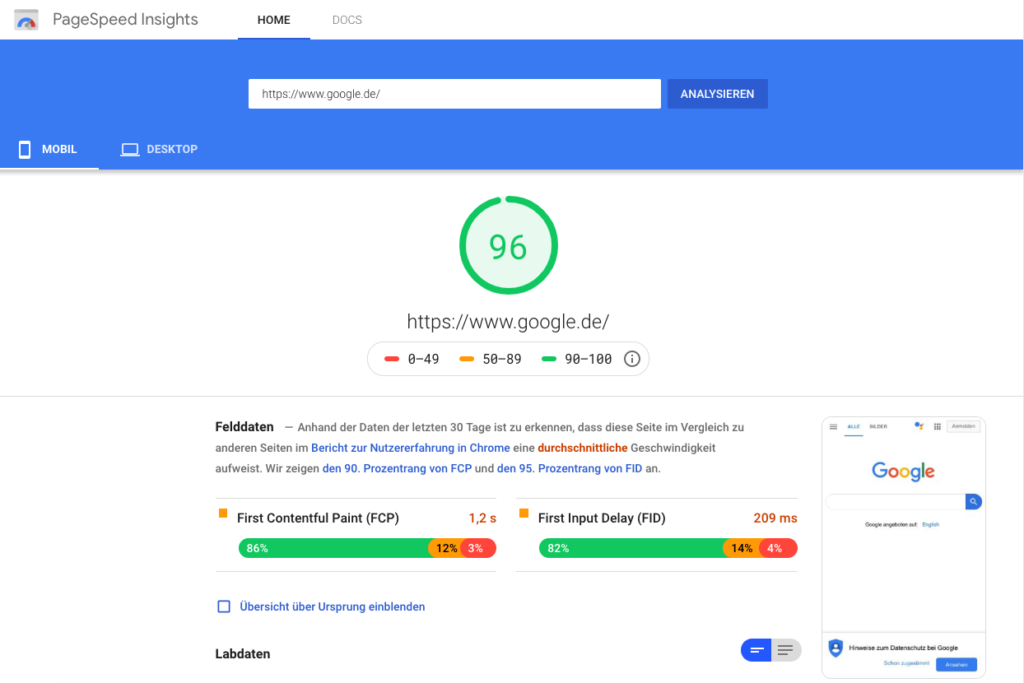 Google Page Speed ermitteln