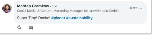 Hashtags in LinkedIn Kommentaren