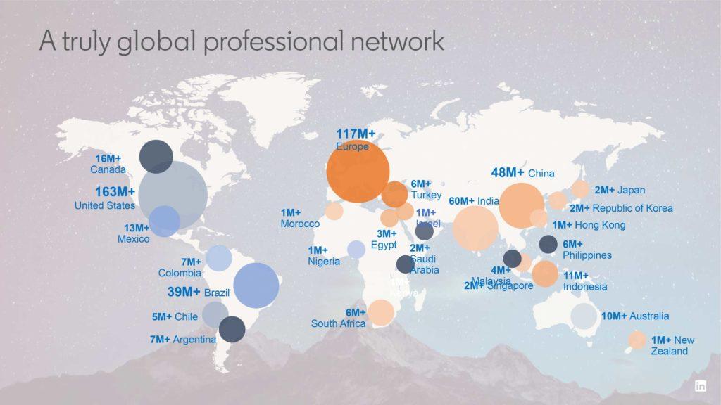 Diese Karte zeigt die Verteilung aller LinkedIn-Miglieder weltweit