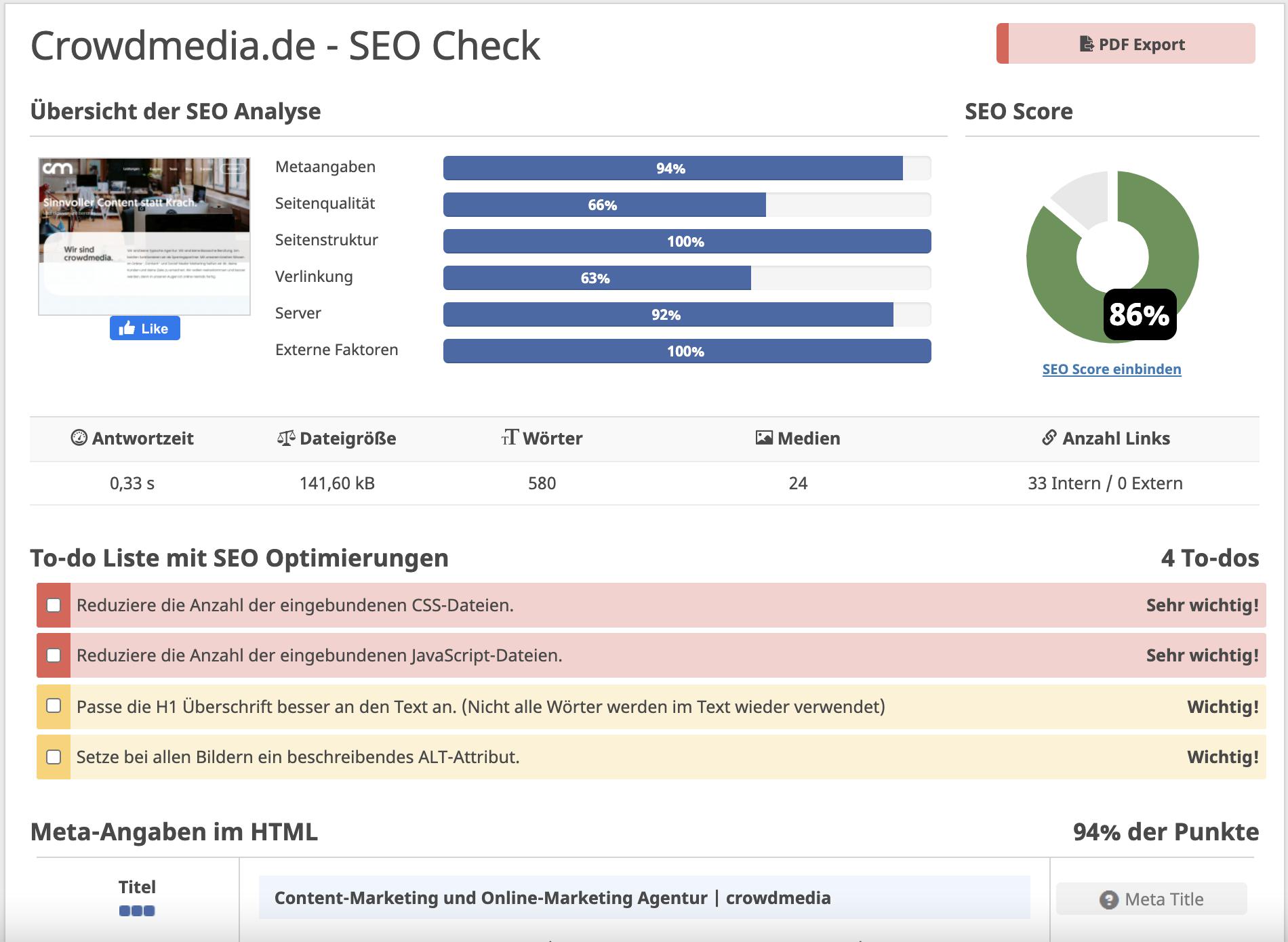 Kostenlose SEO-Tools: Seobility SEO Check