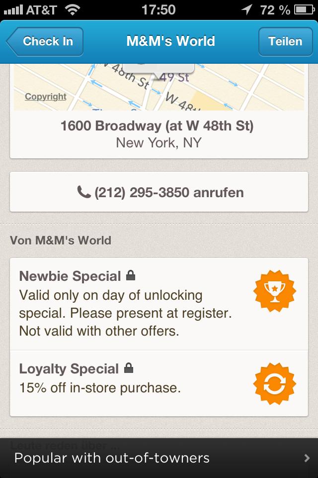 Foursquare M&M Deals