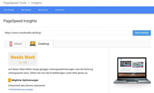 SEO Tools - PageSpeed Insights