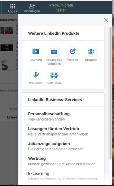 Übersicht Apps in LinkedIn