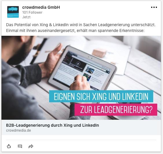 Fertige LinkedIn Werbeanzeige für Websiteklicks