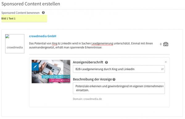 Sponsored Content auf LinkedIn erstellen
