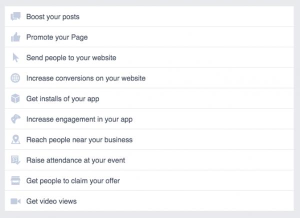 Zielauswahl Kampagnen bei Facebook