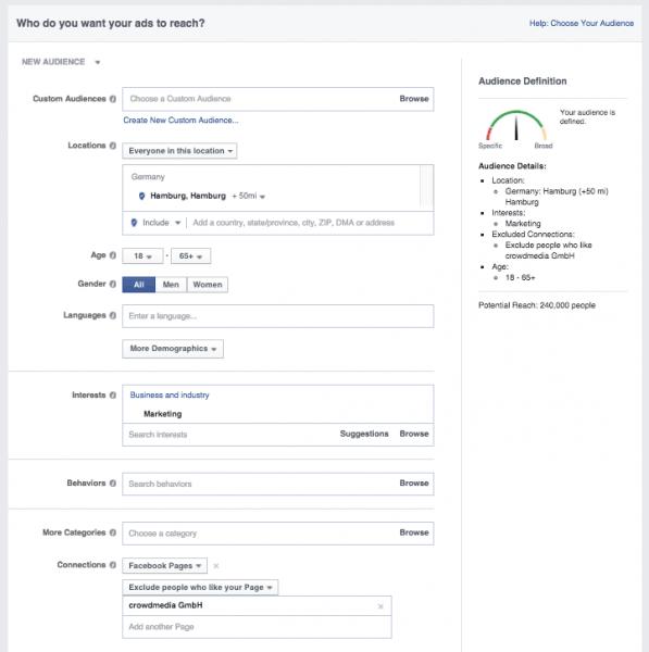 Zielgruppe bestimmen Facebook Ads
