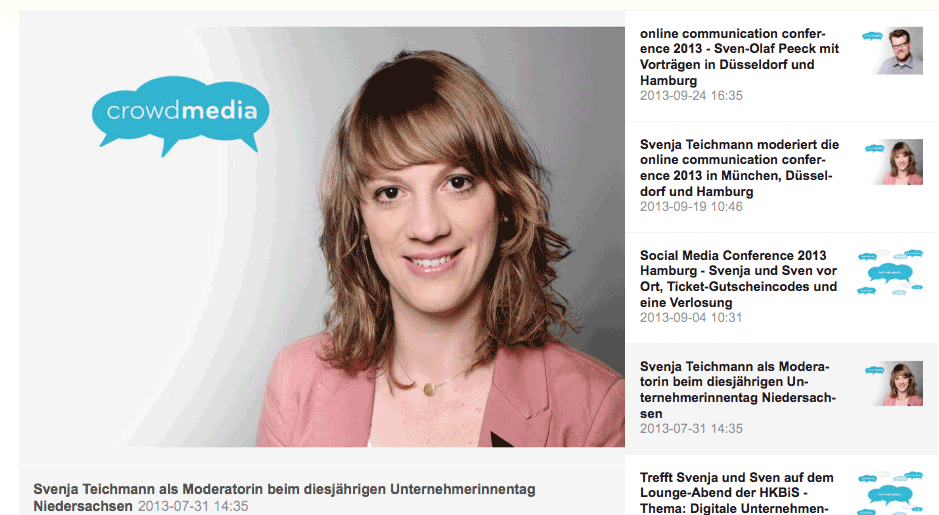 mynewsdesk Einbindung auf crowdmedia.de
