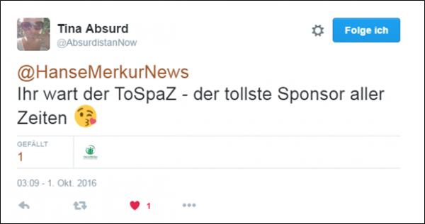 Hansemerkur schlefaz Sponsoring - Lob der Zuschauer