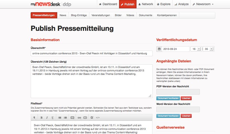 Erstellen von Meldungen in Mynewsdesk
