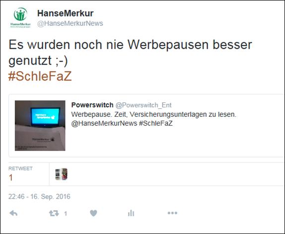 Hansemerkur schlefaz Sponsoring - Beispiel für Nutzerinteraktion