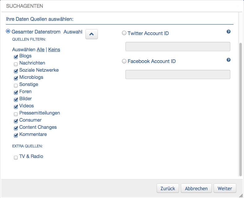 Datenquellen für UMT Delta Suchagenten wählen